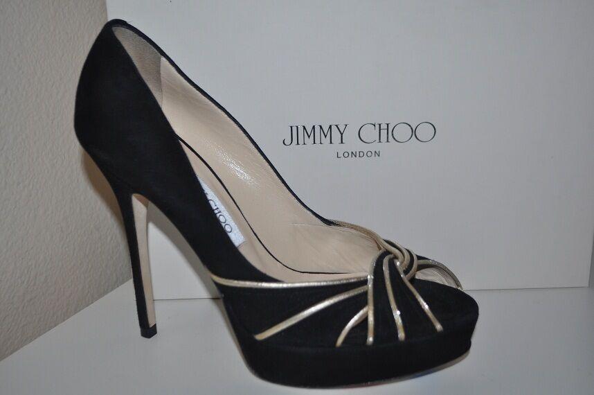 995+ Jimmy Choo KILDA Platform Peep Toe Black Suede Pump Heel shoes Sz 7.5   8