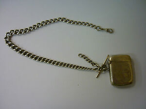 VINTAGE-SILVER-WATCH-CHAIN-DOUBLE-ALBERT-EVERY-LINK-MARKED-SILVER-SILVER-VESTA