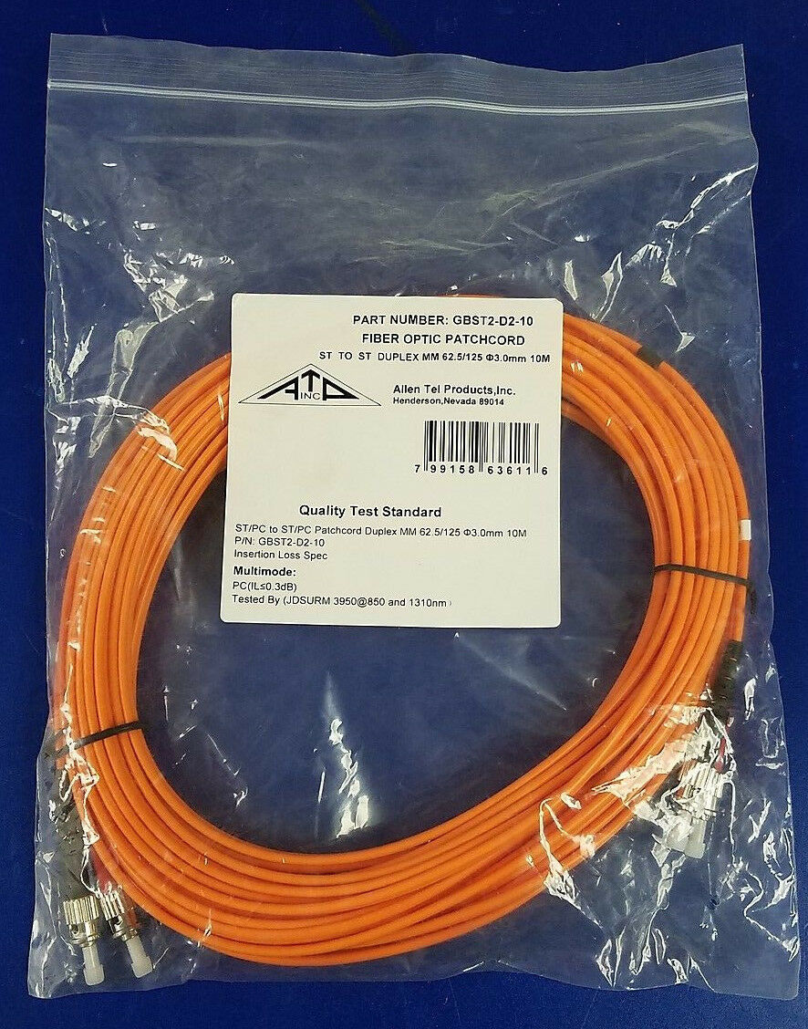 ST To ST 1-Meter Length Orange Jacket Duplex Cable Multimode Fiber Allen Tel GBST2-D2-01 Fiber Optic Cable Assembly Patch Cord