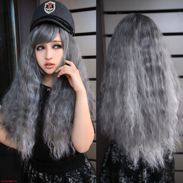 Fashion Long Gray Grey Curly Wavy Women's Lady Party Cosplay Hair Wig Wigs + Cap