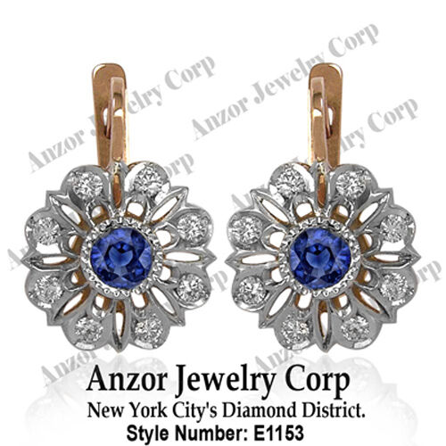 RUSSIAN STYLE  DIAMOND and SAPPHIRE EARRINGS 14k   E1153