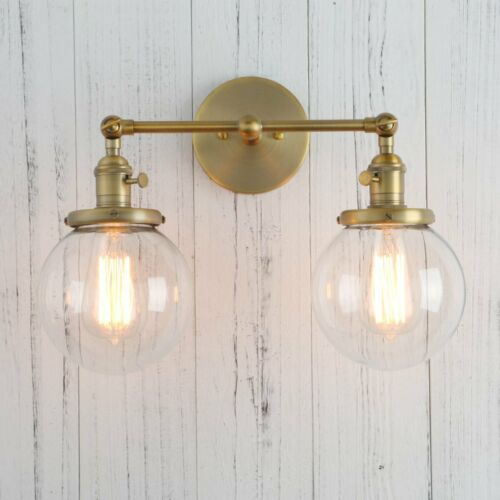 """Pathson Double Sconce Industrial Antique Wall Lamp 5.9/"""" Globe Vanity Wall Light"""