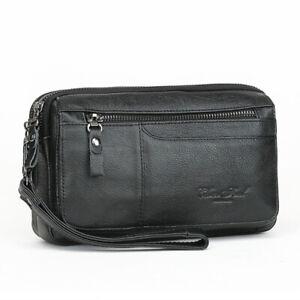 Men-039-s-Leather-Clutch-Bag-Handbag-Business-Wallet-Card-Purse-Mobile-Phone-Pouch