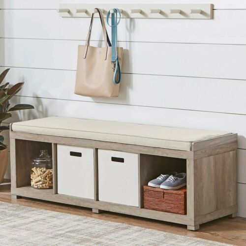 Entryway Storage Bench Wood Cushion Sitting Furniture Upholstered Rustic Gray
