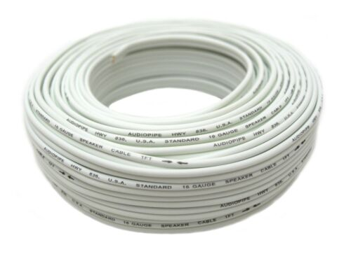 16 Gauge 100/' Feet White Speaker Wire Zip Cable Copper Clad Aluminum Car Stereo