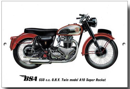 BSA 650CC O.H.V TWIN MODEL A10 SUPER ROCKET METAL SIGN.MOTORCYCLES.