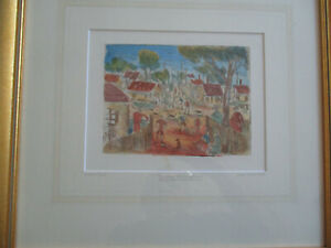 Signed-034-Pro-Hart-034-hand-painted-Lithograph-Artist-Proof-Sunday-Mining-Town