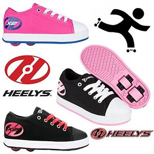 New-Heelys-X2-Fresh-Kids-Wheelie-Trainers-Girls-Roller-Skate-Shoes-Pink-Black