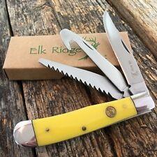 ELK RIDGE Yellow GENTLEMAN'S 3 Blade Folding GUTHOOK Pocket Knife ER-089Y New!
