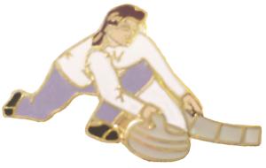 Curling Lady avec Stone /& Balai pin badge