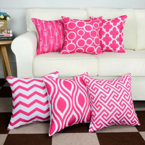 6PC//Set Home Décoratif Taie d/'oreiller en Coton Lin Canapé Coussin Throw Pillow Cover