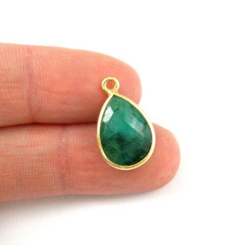 2pcs Small Teardrop Emerald Dyed 10x14mm Bezel Gemstone Pendant-Vermeil