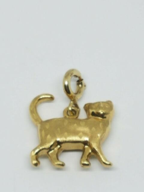 14K Yellow Gold Kitty Cat Charm