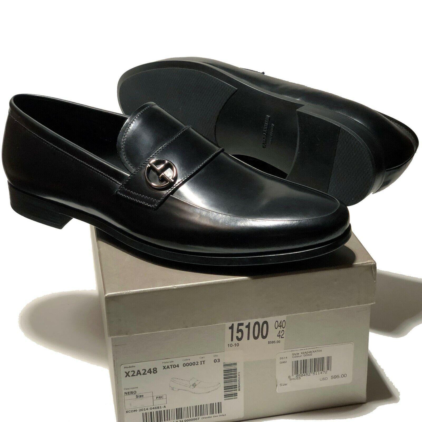 ARMANI nero Leather Fashion Loafers Men's 9 Formal Moccasin Dress Casual Tuxedo