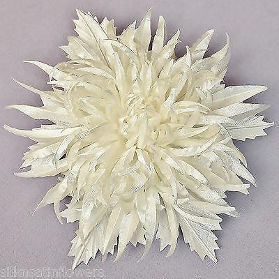 "WHITE IVORY 4"" Bridal Hair Flower Chrysanthemum Corsage Brooch Prom Fascinator"