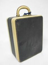 "VINTAGE IVORY + NAVY SQUARE HARD CARRY ON TRAIN CASE 9 x 11 1/2"" W/ ORIGINAL KEY"