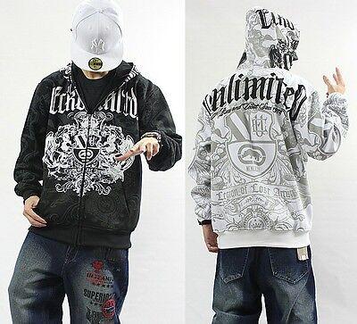 4#W3 Men's Hip Hop ECKO UNLTD Graffiti Printing Zipper Hoodie Sweater Sweatshirt