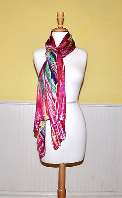 Adore Womens Scarf  Hand Painted Bright Multicolor Black Lace Back- NWT