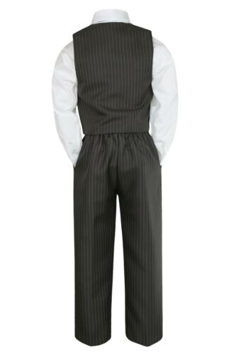New 5pc Baby Toddler Boys Teen Wedding Brown Tuxedo Suit Pinstripes Size S-12