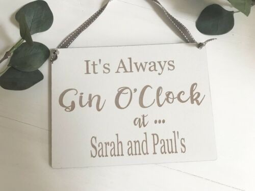 Personalised Engraved Gin and Tonic Sign Wall Hanging Plaque Home Decor LPG001