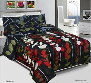 Romorus-Duvet-Cover-Set-Quilted-Cover-With-Pillow-Cases-amp-Fitted-Sheet-All-Size