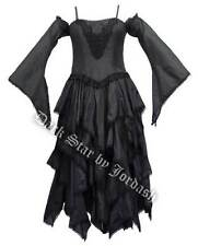 Ladies Black Gothic Steampunk Medieval Victorian Style Layered Dress Size 12-16