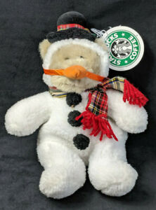 Starbucks-Bearista-Plush-Bear-8th-Edition-Snowman-Suit-Carrot-1999-with-Tag