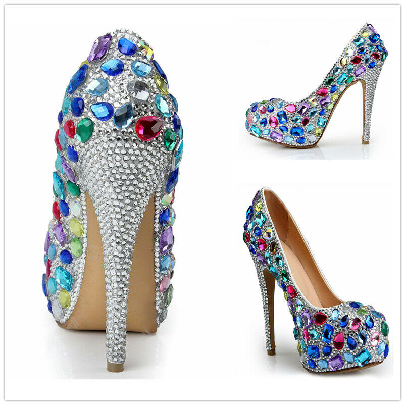 Rhinestone Pointy Toe Seamaster High Heels Womens Crystal Wedding shoes Fashion