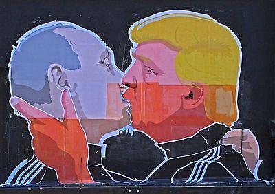 Donald Trump Kissing Vladimir Putin, Graffiti Art, 11.5x16, Giclee Canvas Print