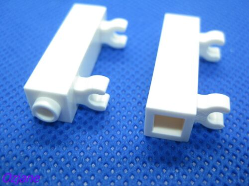 LEGO PART 60583B WHITE BRICK MODIFIED 1 X 1 X 3 WITH 2 CLIPS VERTICAL