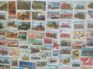 200-Different-Trains-Railways-Railroad-Stamp-Collection