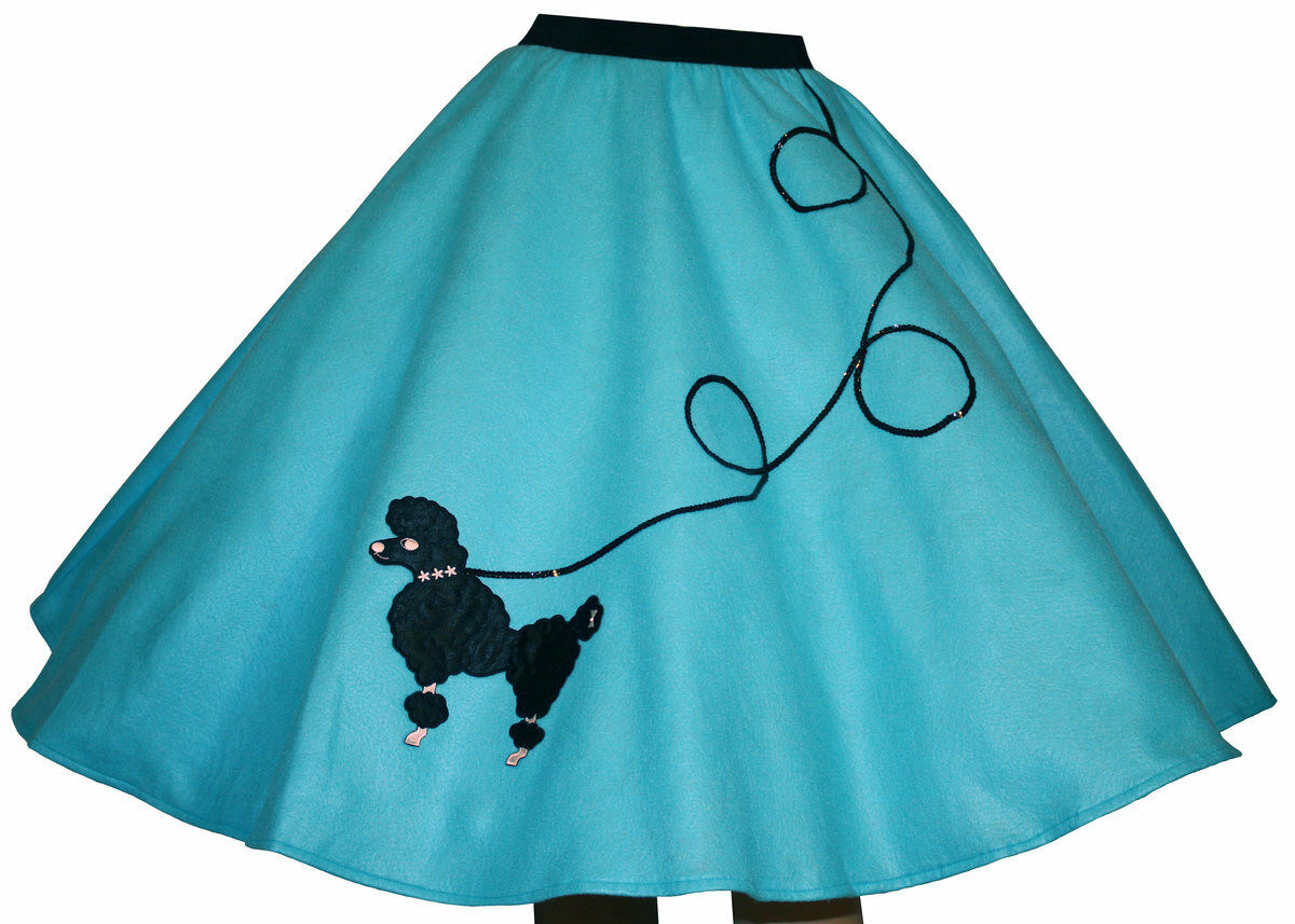 4-Pcs AQUA blueE 50s Poodle Skirt Outfit Size Medium - Waist 30 -37  - Length 25