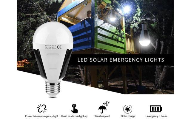 LAMPADINA EMERGENZA PANNELLO SOLARE 7W E27 LAMPADA RICARICABILE IP65 6500K