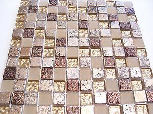 Glasmosaik Mosaik Fliesen Klarglas Metall Ornament Gold Antik Serie