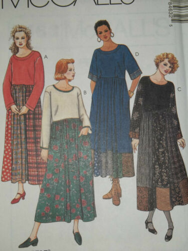 LADIES LOOSE FITTING PULLOVER CONTRAST DRESS PATTERN XS-XL  FF McCALL/'S # 8463