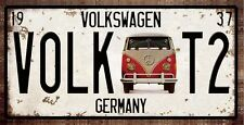 METAL WALL SIGN TIN PLAQUE LICENCE PLATE T1 T2 BAY VDUB GARAGE VW CAMPER SPLITTY