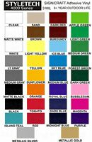 (5) Rolls Professional Adhesive Vinyl 12 X 24 Permanent Crafts Decals Signs