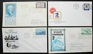 US-Postage-Set-of-4-Covers-Letters-Envelopes-Pony-Stamp-FDC-USA-Letters-H-8301