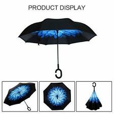 Sleepy Sloths In The Night Double Layer Windproof UV Protection Reverse Umbrella With C-Shaped Handle Upside-Down Inverted Umbrella For Car Rain Outdoor