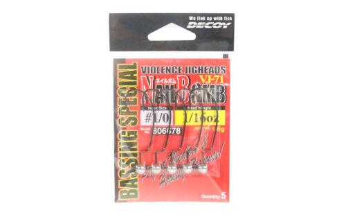 Decoy VJ-71 Jig Head Nail Bomb Hook Size 1//0 1//16 oz 6678