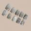 Indexbild 3 - MARBLE SHORT *GREY* Full Cover Press On 24 Nail Tips + Glue!