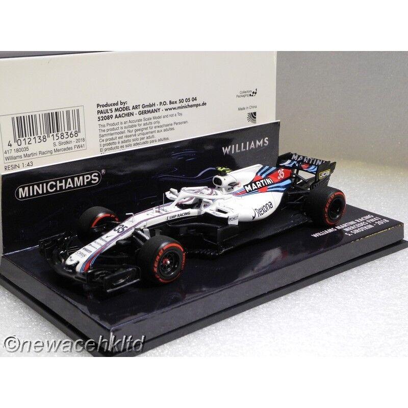 Williams FW41 Mercedes  35 2018 Fórmula uno Minichamps Modelos 1 43  417180035