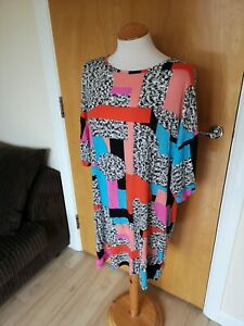 Ladies-TU-Dress-Size-16-Stretch-Tunic-Black-Blue-Smart-Casual-Day-Party-Summer