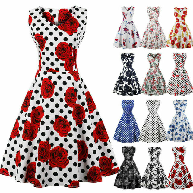 UK Womens Plus Size 50s 60s Vintage Floral Rockabilly Cocktail Party Swing Dress