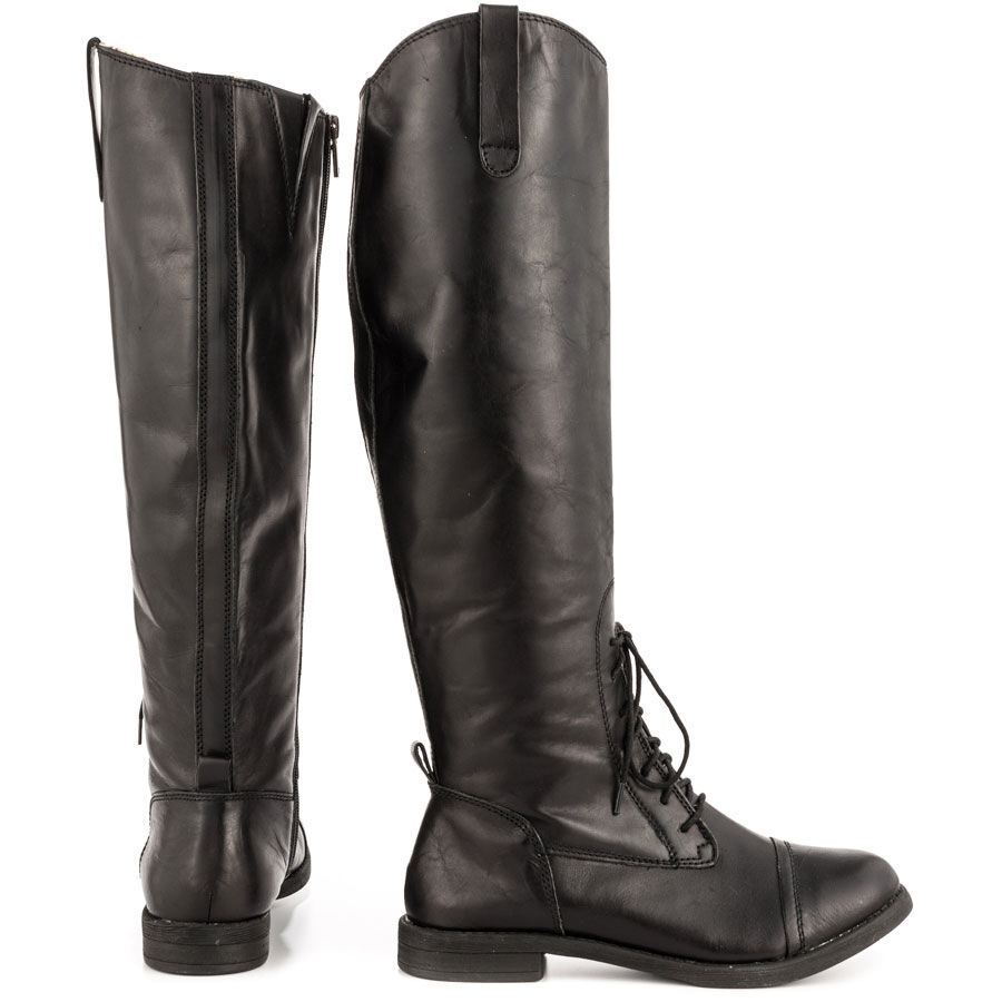 NEW LUCKY BRAND BLACK LEATHER RIA LACE UP BOOTS SZ 6