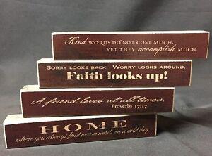 4 Set Christian House Decor Wooden Sign Message Blocks