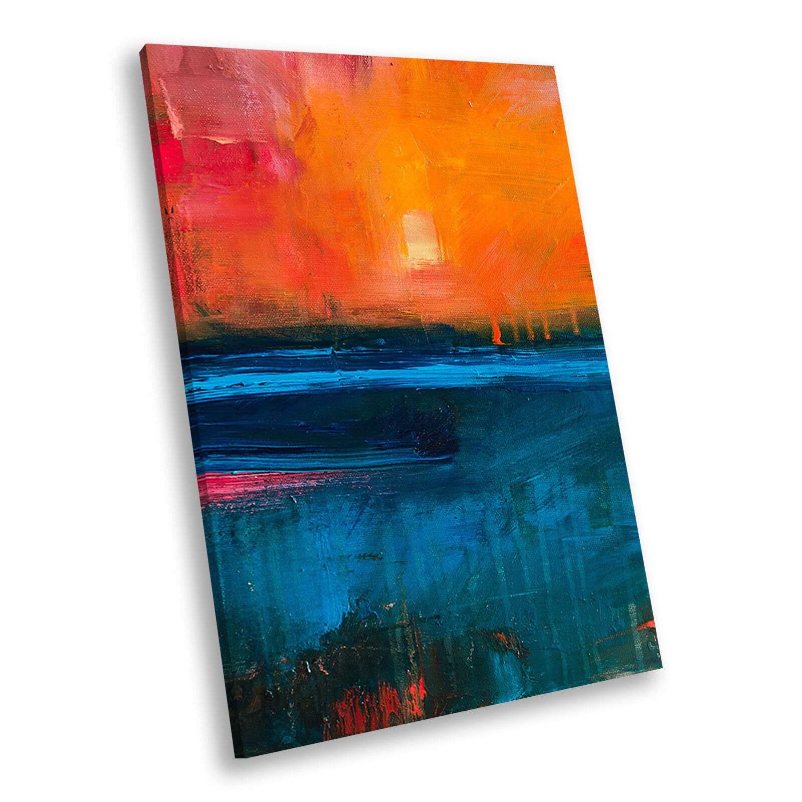 Retro Blau Orange Portrait Abstract Canvas Wall Art Large Picture Prints
