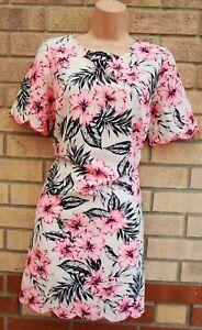 New-Look-Blanco-Rosa-Negro-Floral-Vestido-Tunica-de-cambio-de-ajuste-Bordado-Wiggle-12-M