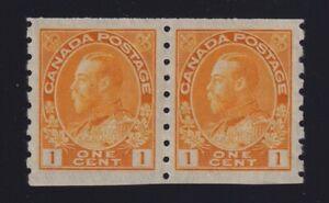Canada-Sc-126-1923-1c-orange-yellow-Admiral-COIL-PAIR-Die-II-Mint-VF-NH