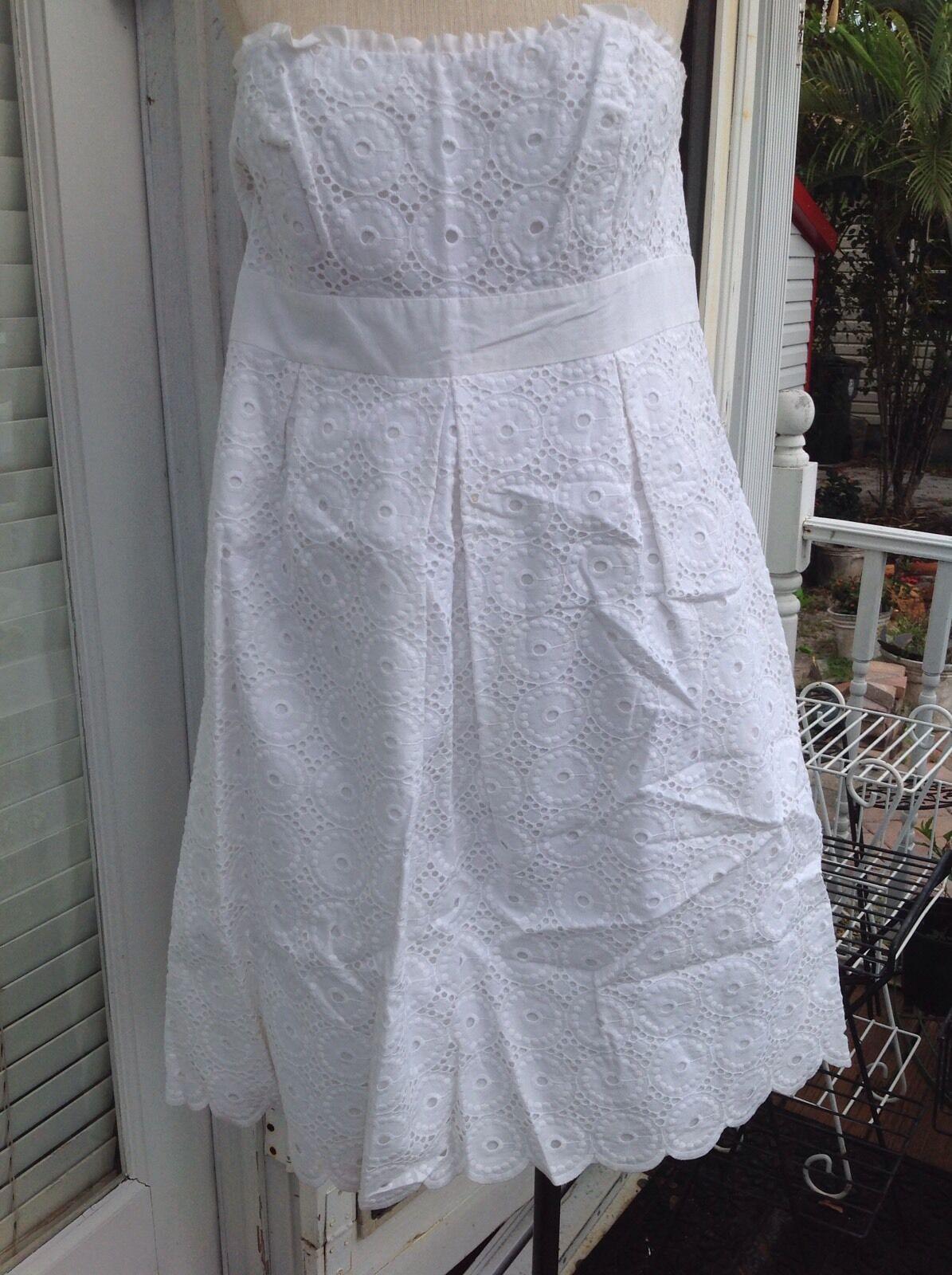 Lilly Pulitzer White Eyelet Circle Strapless Dress 12 L Large Scallop Hem NEW